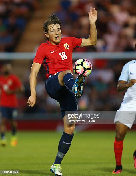 Sander Berge of Norway U21 during the UEFA European U21 Championship Qualifier Group 9 match between England U21 and Norway U21 at Colchester...