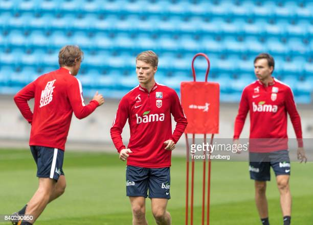 Sander Berge Sigurd Rosted Ole Kristian Selnaes of Norway during the FIFA 2018 World Cup Qualifier training between Norway and Azerbaijan at Ullevaal...