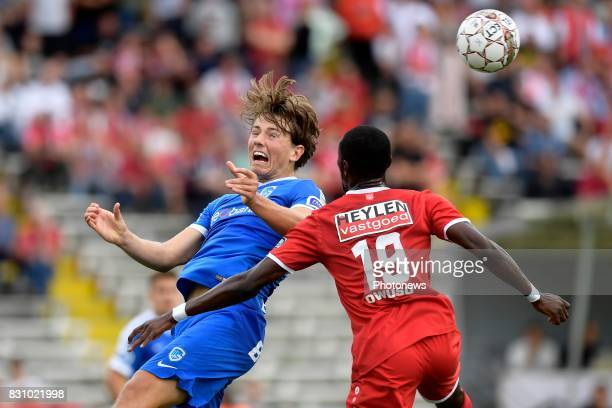 Sander Boli Berge midfielder of KRC Genk battles for the ball with William Owusu Acheampong forward of Antwerp FC during the Jupiler Pro League match...