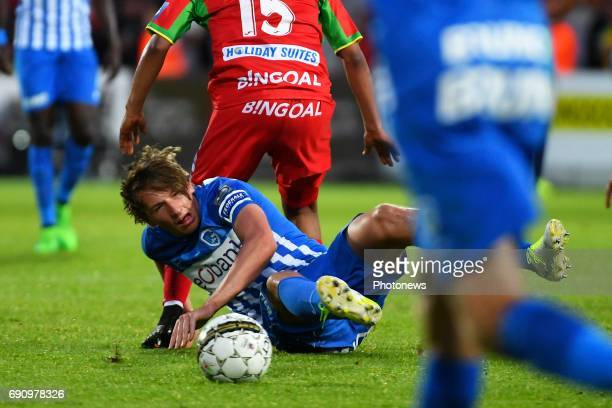 Sander Boli Berge midfielder of KRC Genk during the Jupiler Pro League Final play off match between KV Oostende fourth PO1 and KRC Genk Winner PO2 on...
