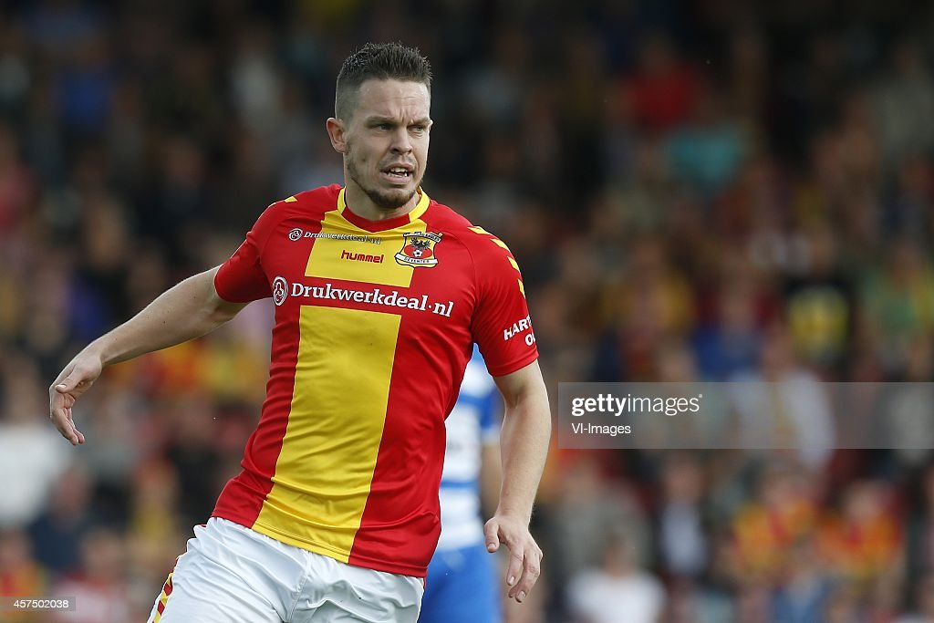 Sander Duits of Go Ahead Eagles during the Dutch Eredivisie match between Go Ahead Eagles and PEC Zwolle at The Adelaarshorst on October 19 2014 in...