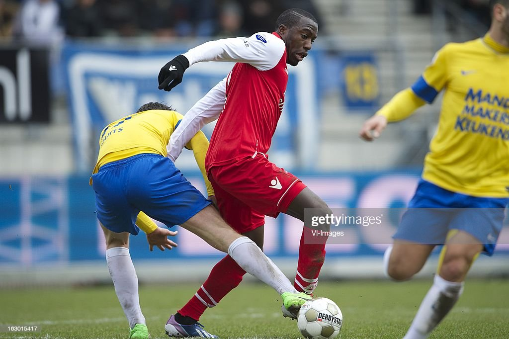 Sander Duits of RKC Waalwijk, Jozy Altidore of AZ during the Dutch Eredivisie match between RKC Waalwijk and AZ Alkmaar at the Mandemakers Stadiumon march 03, 2013 in Waalwijk, The Netherlands