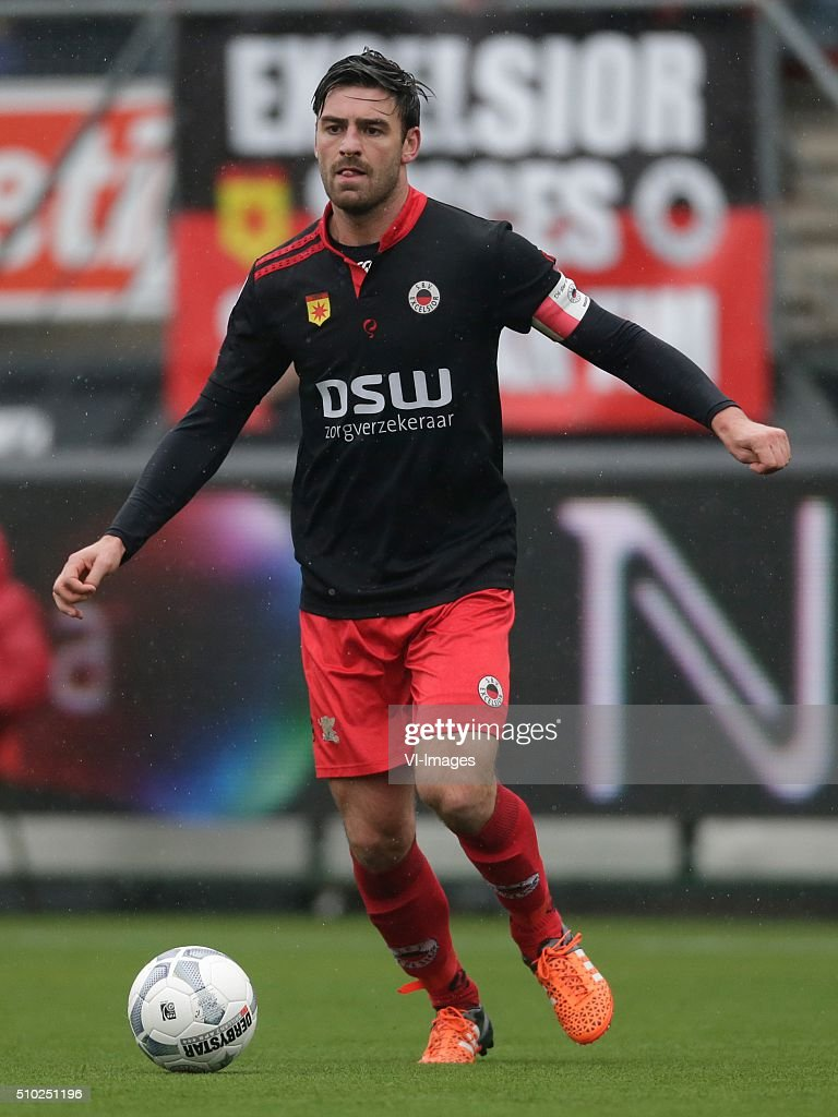 Sander Fischer of Excelsior Rotterdam during the Dutch Eredivisie match between Excelsior Rotterdam and ADO Den Haag at Woudenstein stadium on February 14, 2016 in Rotterdam, The Netherlands