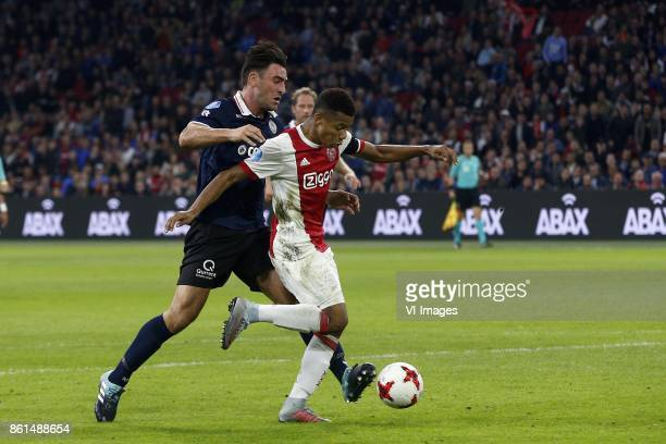 Sander Fischer of Sparta Rotterdam David Neres of Ajax during the Dutch Eredivisie match between Ajax Amsterdam and Sparta Rotterdam at the Amsterdam...