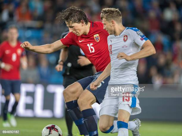 Sander Gard Bolin Berge of Norway Ladislav Krejci of Czech during the FIFA 2018 World Cup Qualifier between Czech Republic v Norway at Ullevaal...
