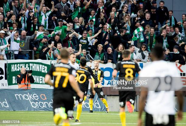Sander Svendsen of Hammarby IF celebrates after scoring 02 during the Allsvenskan match between Orebro SK and Hammarby IF at Behrn Arena on August 21...