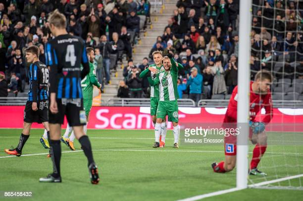 Sander Svendsen of Hammarby IF celebrates after scoring 20 during the Allsvenskan match between Hammarby IF and IK Sirius FK at Tele2 Arena on...