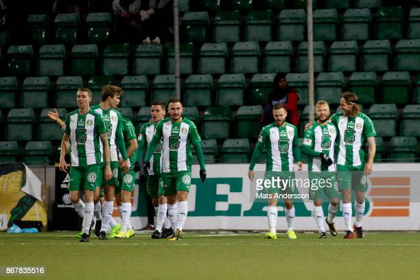 Sander Svendsen of Hammarby IF celebrates after scoring during the Allsvenskan match between GIF Sundsvall and Hammarby IF at Norrporten Arena on...
