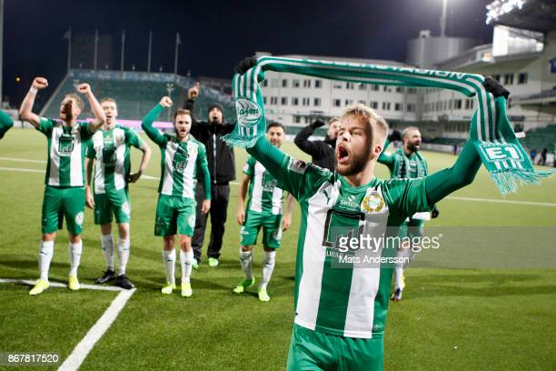 Sander Svendsen of Hammarby IF celebrates after the victory during the Allsvenskan match between GIF Sundsvall and Hammarby IF at Norrporten Arena on...