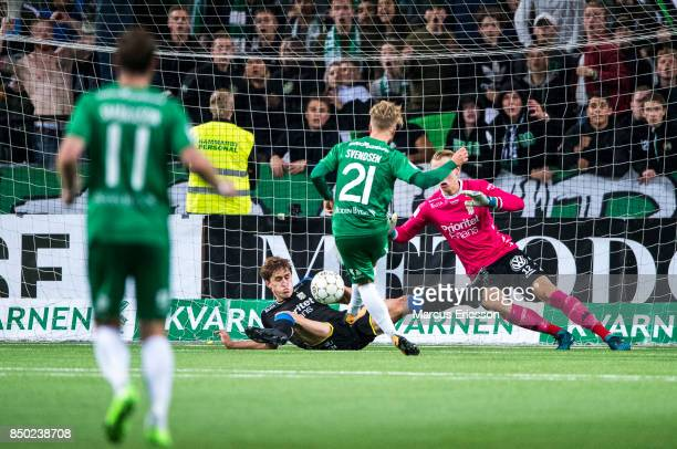 Sander Svendsen of Hammarby IF scores the second goal to Hammarby during the Allsvenskan match between Hammarby IF and IFK Goteborg at Tele2 Arena on...