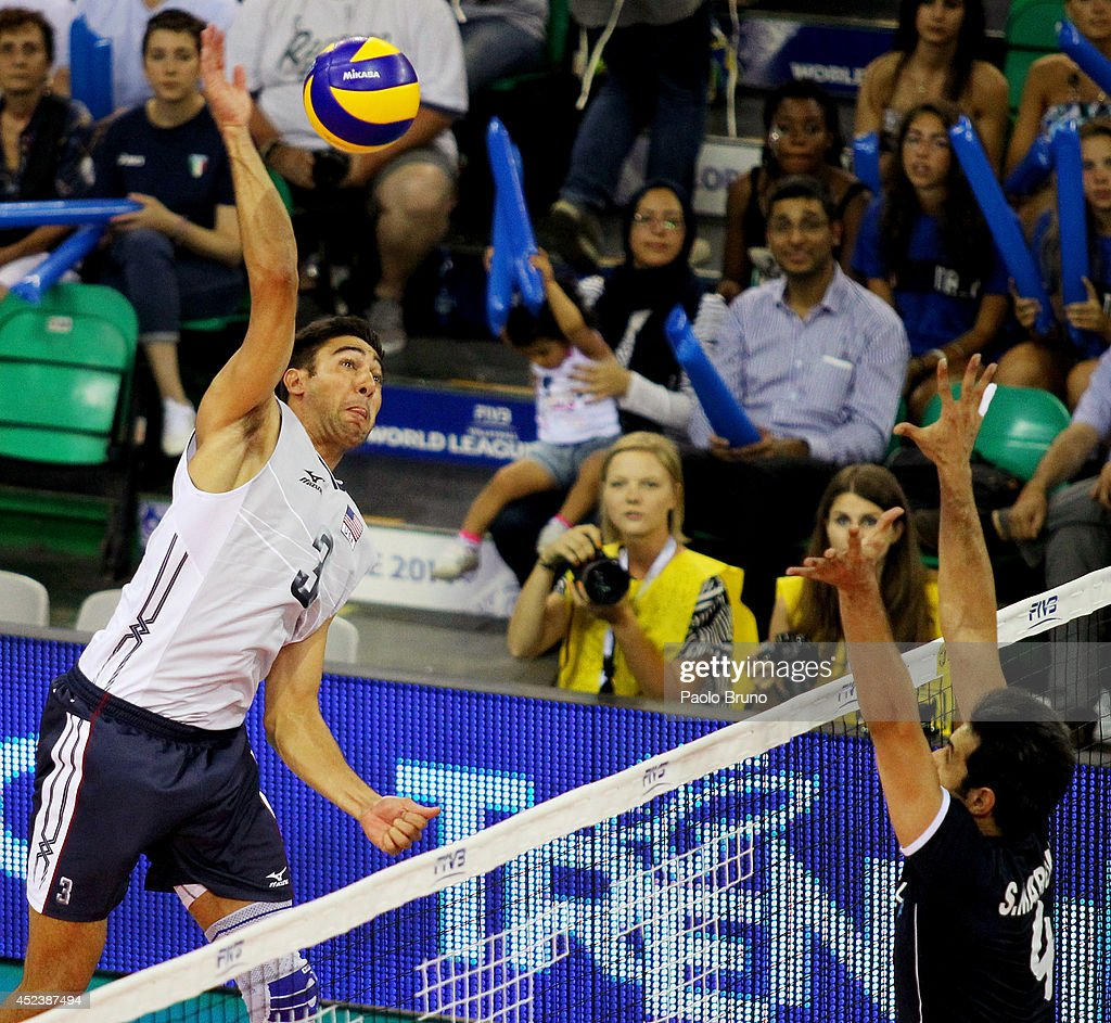 Sander Taylor of United States spikes the ball during the FIVB World League Final Six semifinal match between Iran and United States at Mandela Forum on July 19, 2014 in Florence, Italy.
