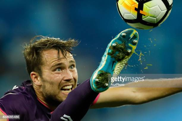 Sander van de Streek of FC Utrecht in action during the UEFA Europa League playoff round second leg match between FC Zenit St Petersburg and FC...
