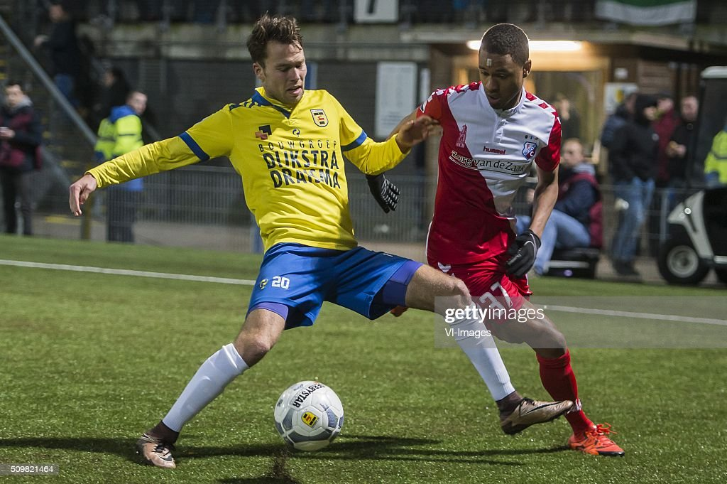 Sander van de Streek of SC Cambuur Leeuwarden, Patrick Joosten of FC Utrecht during the Dutch Eredivisie match between SC Cambuur Leeuwarden and FC Utrecht at the Cambuur Stadium on February 12, 2016 in Leeuwarden, The Netherlands
