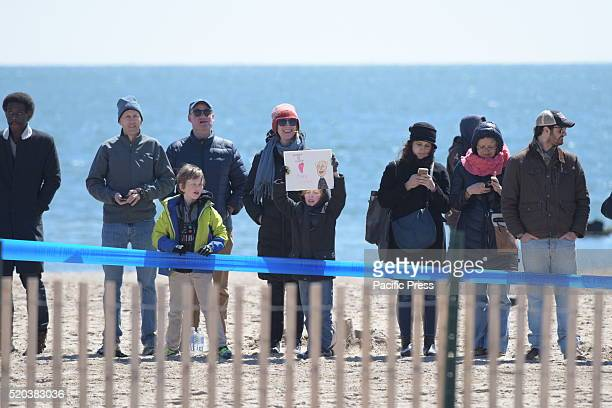 Sanders supporters line in beach awaiting candidate's appearance Democratic presidential candidate Bernie Sanders addressed supporters on the Coney...