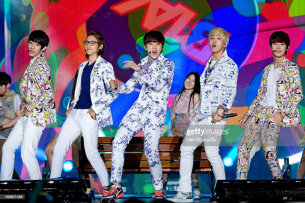 CNU, Sandeul, Gongchan, Baro and Jinyoung of South Korean boy band B1A4 perform onstage during the KBS Korea-China Music Festival on August 25, 2012 in Yeosu, South Korea.