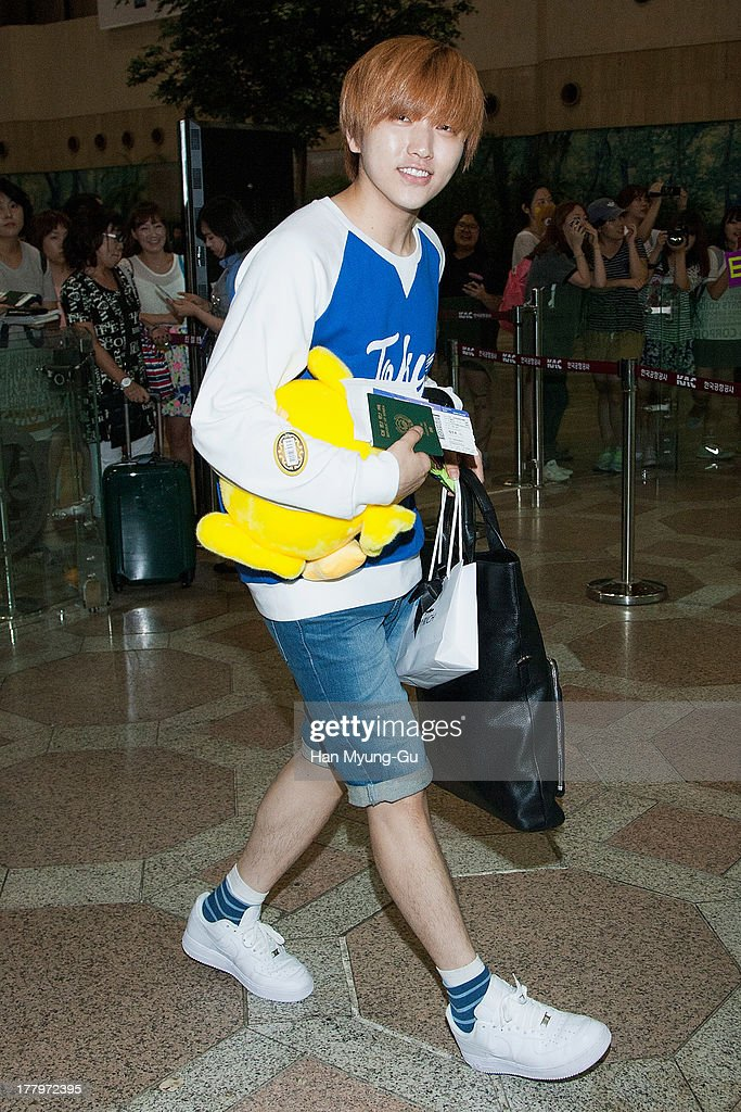 Sandeul of South Korean boy band B1A4 is seen on departure at Gimpo International Airport on August 26, 2013 in Seoul, South Korea.