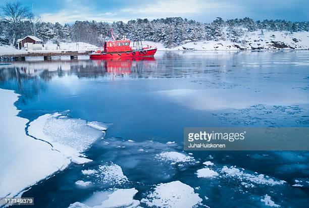 Sandhamn harbour in winter