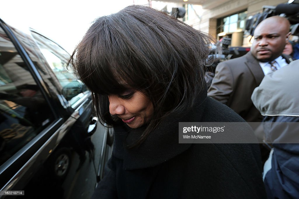 Sandi Jackson, wife of former Rep. Jesse Jackson Jr., leaves U.S. District Court February 20, 2013 in Washington, DC. Jackson and his wife, Sandi Jackson, both pleaded guilty to federal charges after being accused of spending more than $750,000 in campaign funds to purchase luxury items, memorabilia and other goods.