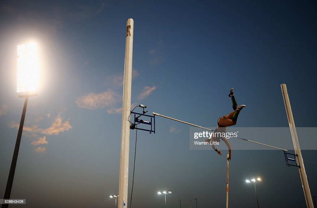 Sandi Morris of the United States competes in the Women's Pole Vault final during the Doha IAAF Diamond League 2016 meeting at Qatar Sports Club on May 6, 2016 in Doha, Qatar.