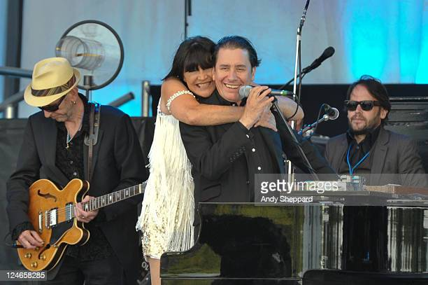 Sandi Shaw and Jools Holland perform on stage during Radio 2 Live In Hyde Park on September 11 2011 in London United Kingdom