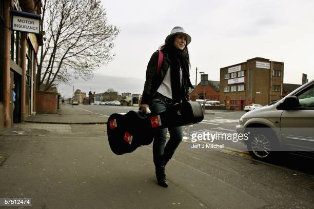 Sandi Thom leaves after performing a basement gig on May 2 2006 in Glasgow Scotland This was the first of three basement webcast gigs being played in...