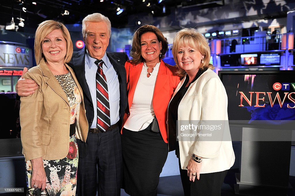 Sandie Rinaldo, Lloyd Robertson, Lisa LaFlamme and Pamela Wallin pose during Lloyd Robertson's final broadcast for CTV News after 35 years as the national anchor and as North America's longest serving national news anchor at CTV National News HQ Building on September 1, 2011 in Toronto, Canada.