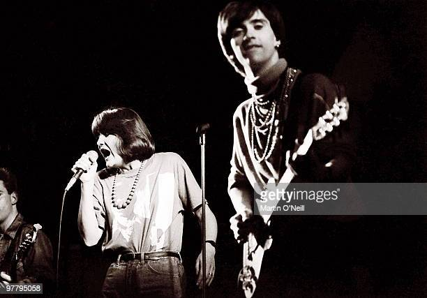 Sandie Shaw performing live onstage with The Smiths at The Free Trade Hall Manchester on March 13 1984 Andy Rourke on left Johnny Marr on right