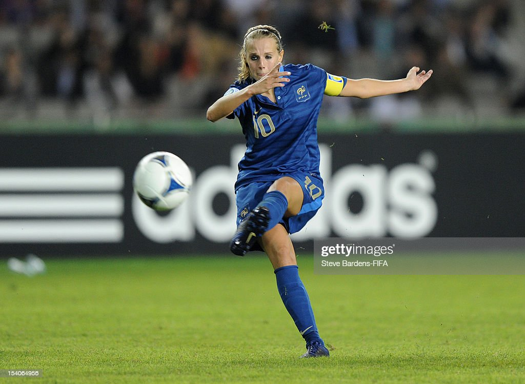 Sandie Toletti of France has a shot during the FIFA U-17 Women's World Cup 2012 Final between France and Korea DPR at the Tofig Bahramov Stadium on October 13, 2012 in Baku, Azerbaijan.