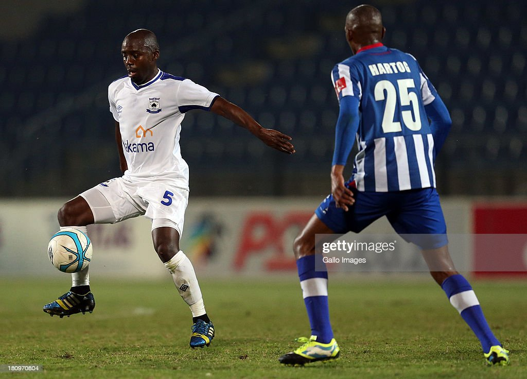 Sandile Michael Zuke of MP Black Aces during the Absa Premiership match between Maritzburg United and MP Black Aces at Harry Gwala Stadium on September 18, 2013 in Durban, South Africa.