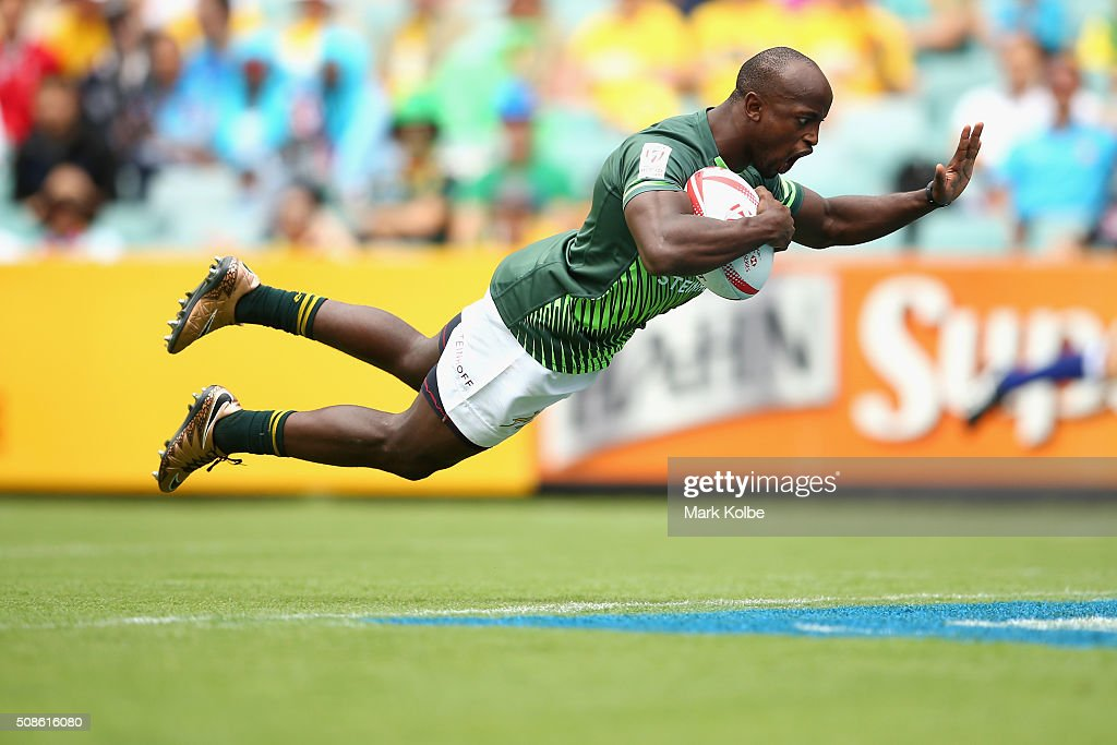 Sandile Ngcobo of South Africa dives over to score a try during the 2016 Sydney Sevens match between South Africa and Scotland at Allianz Stadium on February 6, 2016 in Sydney, Australia.