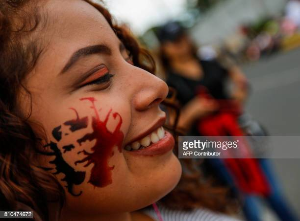 Sandinistas participate in a rally in Managua on July 7 2017 to celebrate the 38th anniversary of 'El Repliegue' tactical retreat from Managua to...