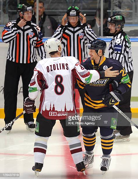 Sandis Ozolins of the Dinamo Riga and Alexei Kovalev of the Atlant before the match during the game between Dinamo Riga and Atlant Moscow region...