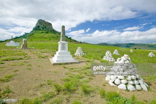 Sandlwana hill or Sphinx with soldiers graves in foreground the scene of the Anglo Zulu battle site of January 22 The great Battlefield of Isandlwana...