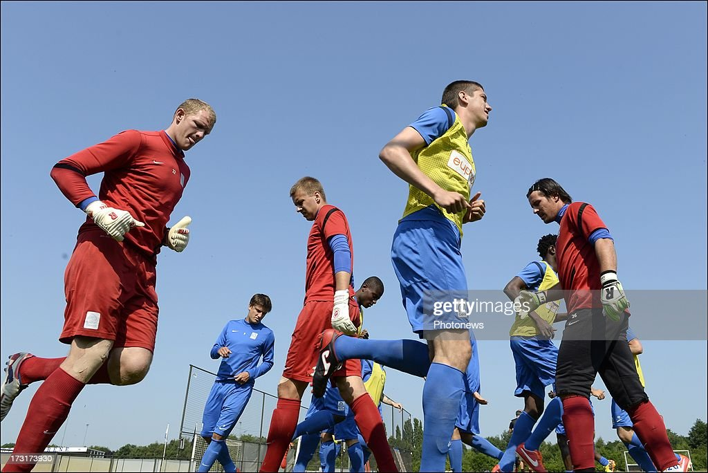 Sandomierski and Kristof Van Hout during a KRC Genk summer camp training session on July 09 , 2013 in Tegelen, Netherlands.