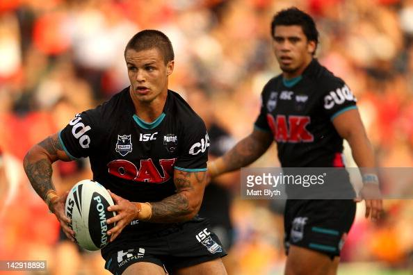 Sandor Earl of the Panthers runs the ball during the round seven NRL match between the Penrith Panthers and the Wests Tigers at Centrebet Stadium on...
