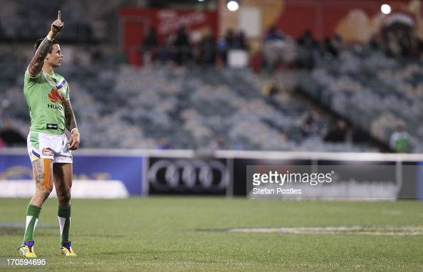 Sandor Earl of the Raiders calls for the ball during the round 14 NRL match between the Canberra Raiders and the Penrtih Panthers at Canberra Stadium...