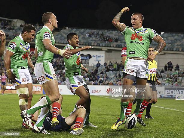 Sandor Earl of the Raiders celebrates after scoring a try during the round five NRL match between the Canberra Raiders and the Sydney Roosters at...