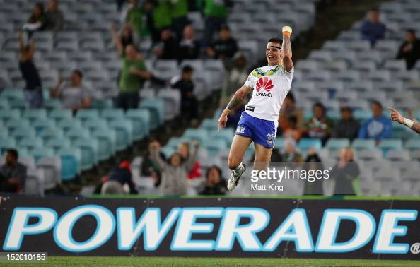 Sandor Earl of the Raiders celebrates scoring a try during the NRL Semi Final match between the South Sydney Rabbitohs and the Canberra Raiders at...