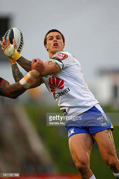Sandor Earl of the Raiders takes the high ball during the round 26 NRL match between the New Zealand Warriors and the Canberra Raiders at Mt Smart...