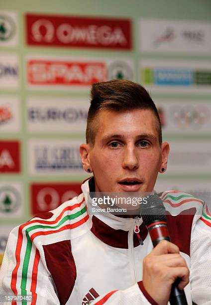 Sandor Szabo of Hungary talks to the media during a press conference for the 19th SPAR European Cross Country Championships at the Ramada Aquincum...
