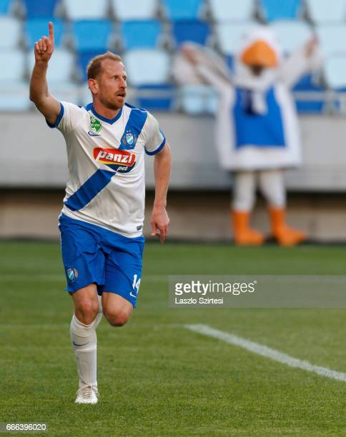 Sandor Torghelle of MTK Budapest celebrates his goal during the Hungarian OTP Bank Liga match between MTK Budapest and Mezokovesd Zsory FC at Nandor...