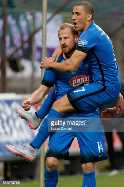 Sandor Torghelle of MTK Budapest celebrates his goal with Myke Bouard Ramos of MTK Budapest during the Hungarian OTP Bank Liga match between Ujpest...