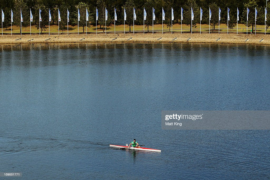 Sandor Totka of Hungary warms down after competing in the Men's K1 1000 semi final during day one of the 2013 Australian Youth Olympic Festival at the Sydney International Regatta Centre on January 16, 2013 in Sydney, Australia.