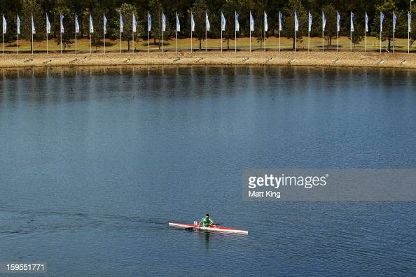Sandor Totka of Hungary warms down after competing in the Men's K1 1000 semi final during day one of the 2013 Australian Youth Olympic Festival at...