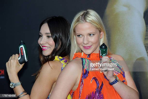 Sandra Ahrabian and Cheyenne Pahde attend the 'The Bridge America' preview screening of channel FOX on September 6 2013 in Munich Germany