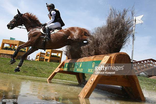 Sandra Auffarth of Germany rides on Opgun Louvo an won the the DHL Price Cross Country Test at Aachener Soers on July 19 2014 in Aachen Germany