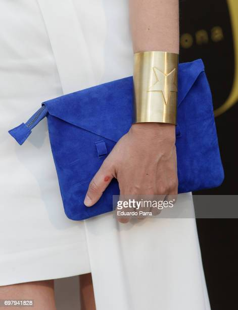 Sandra Barneda wonderwoman bracelet detail attends the 'Yo Donna International Awards' photocall at Duques de Pastrana palace on June 19 2017 in...