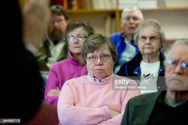 Sandra Barth of Boothbay center listens along with other seniors from the Boothbay Regional Health Wellness Foundation Elder Empowerment Group as...