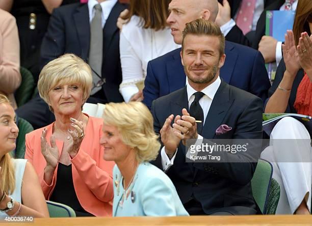 Sandra Beckham and David Beckham attend day ten of the Wimbledon Tennis Championships at Wimbledon on July 9 2015 in London England