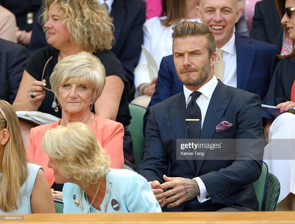 Sandra Beckham and David Beckham attend day ten of the Wimbledon Tennis Championships at Wimbledon on July 9, 2015 in London, England.